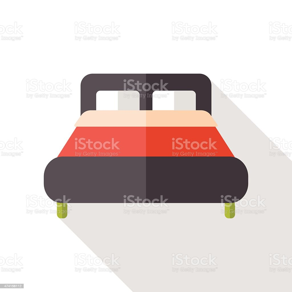 Hotel bed flat icon with long shadow vector art illustration