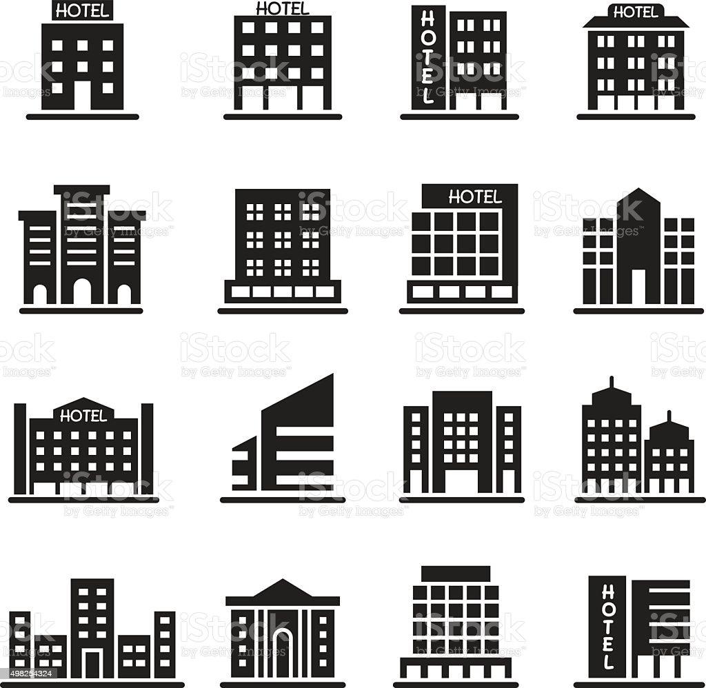 Hotel Building, Office tower, Building icons set illustration vector art illustration