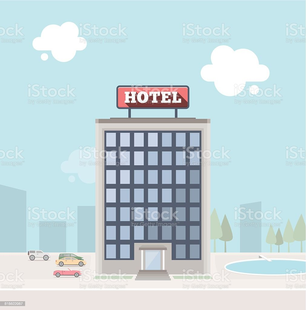 Hotel building vector art illustration