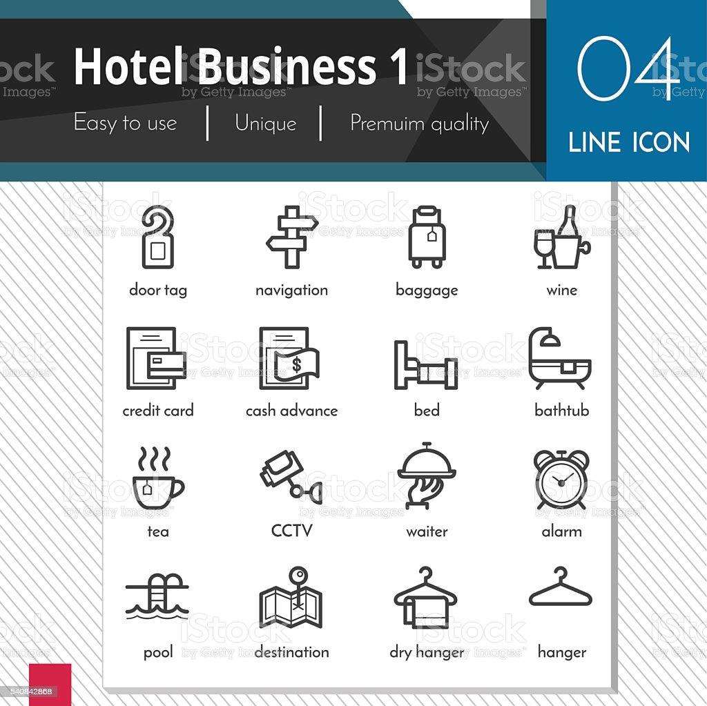 Hotel Business elements set 1 vector black icons vector art illustration