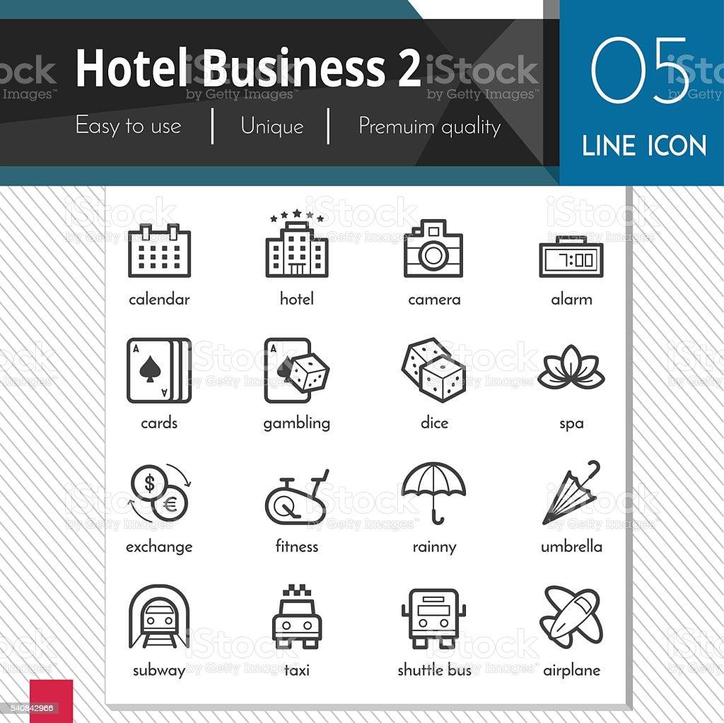 Hotel Business elements set 2 vector black icons. vector art illustration