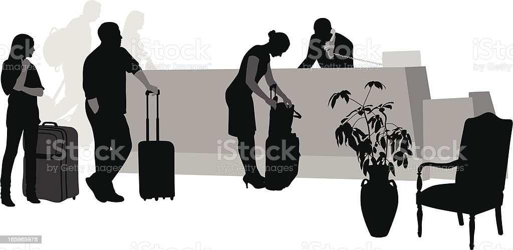 Hotel CheckIn Vector Silhouette royalty-free stock vector art