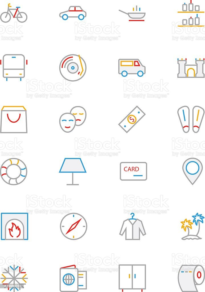 Hotel Colored Line Icons 5 vector art illustration