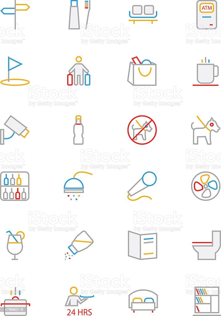 Hotel Colored Line Icons 7 vector art illustration