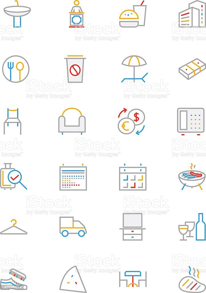 Hotel Colored Line Icons 8 vector art illustration
