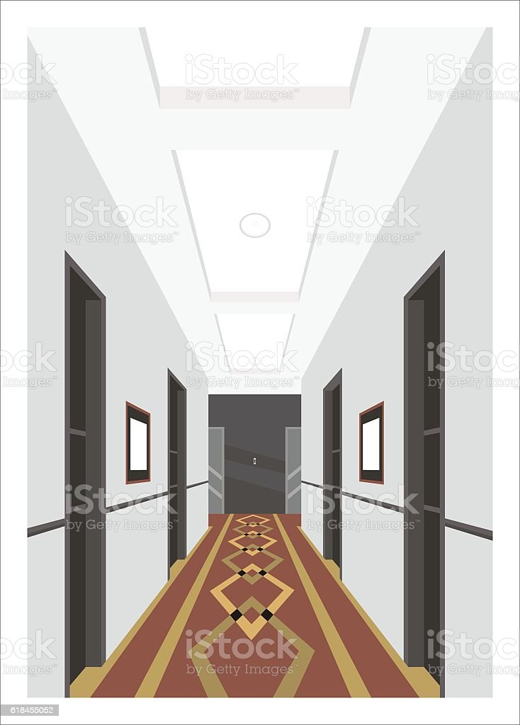hotel corridor simple illustration vector art illustration
