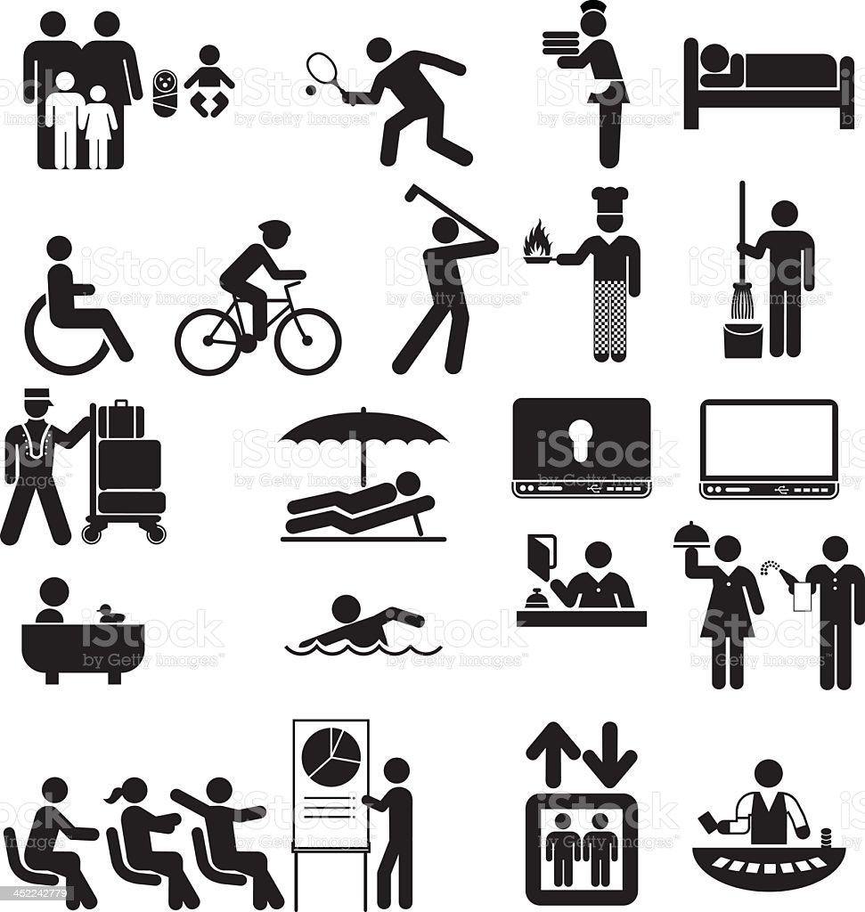 Hotel Features vector art illustration