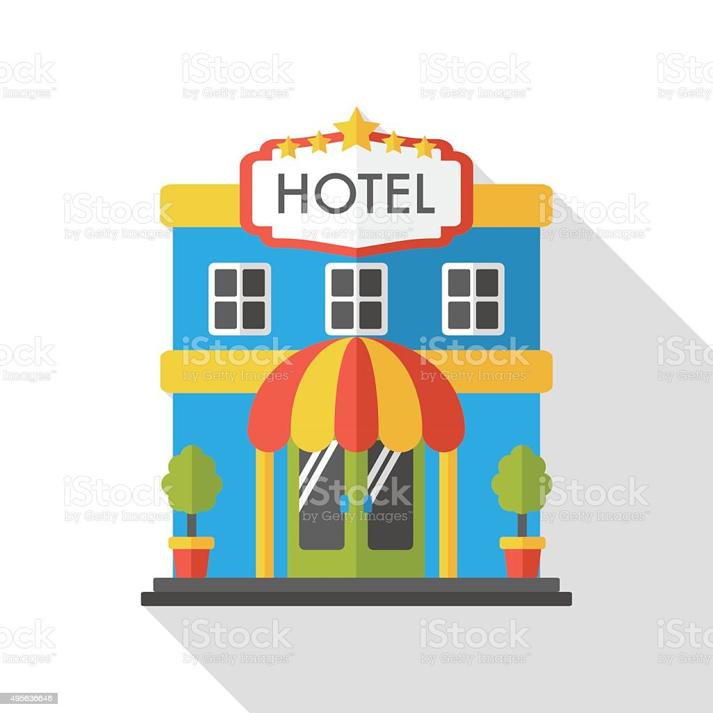 hotel flat icon vector art illustration