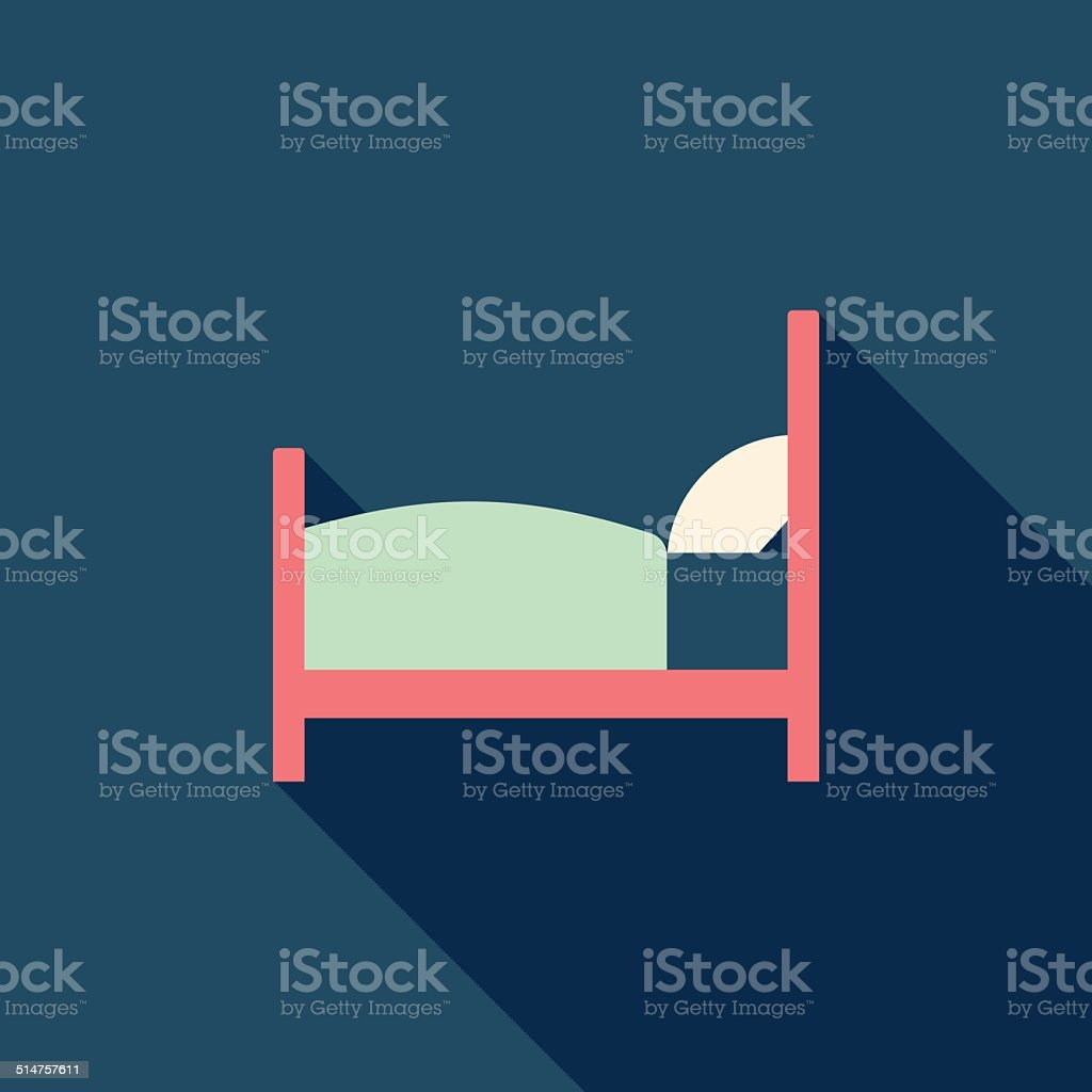 Hotel flat icon with long shadow vector art illustration