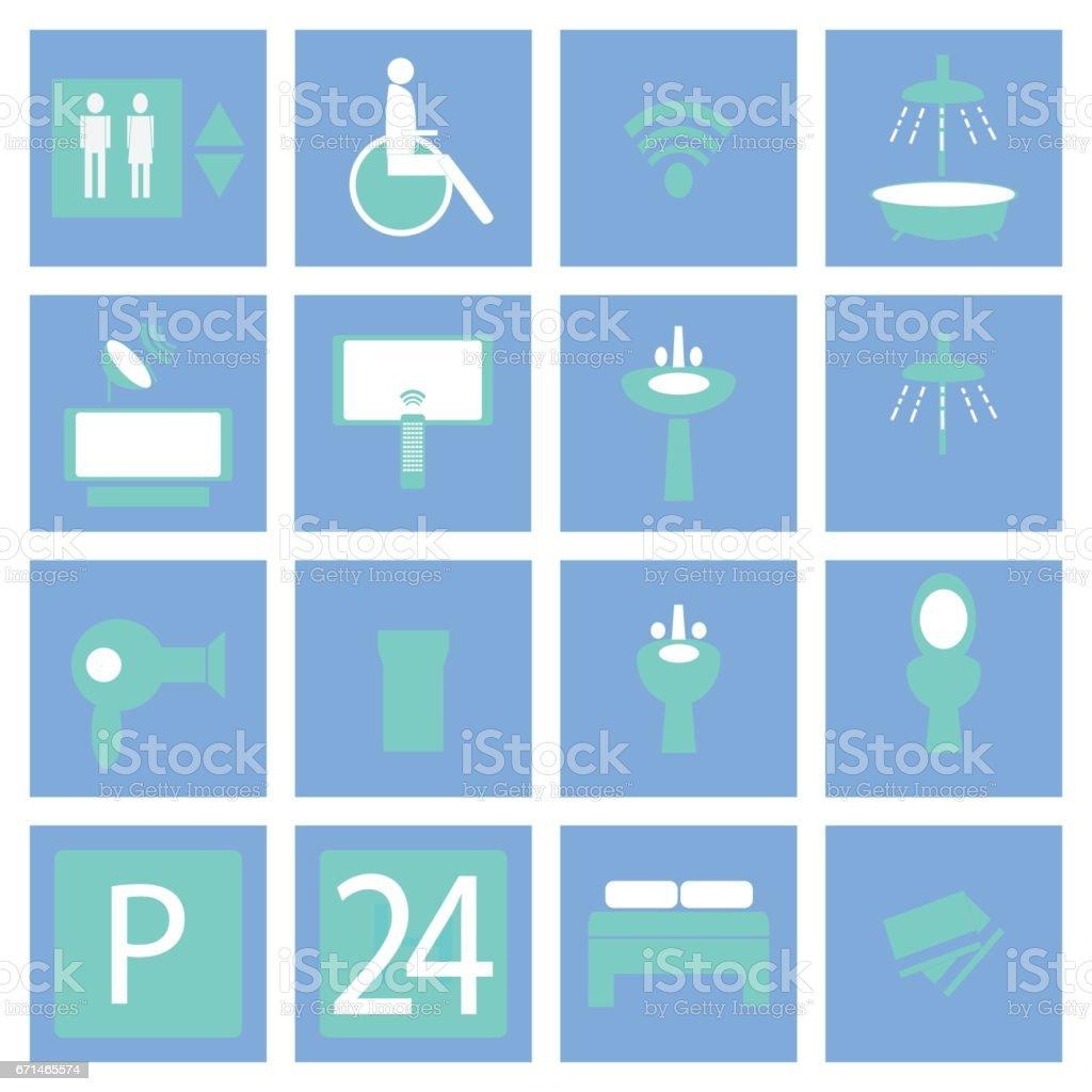 Hotel - Hospital Icons vector art illustration