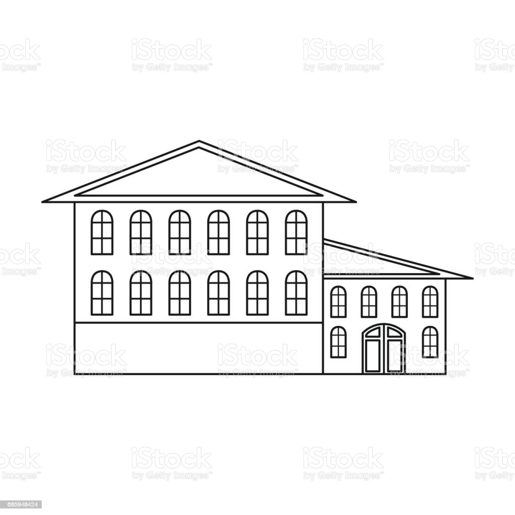 Hotel icon in outline style isolated on white background. Building symbol stock vector illustration. vector art illustration