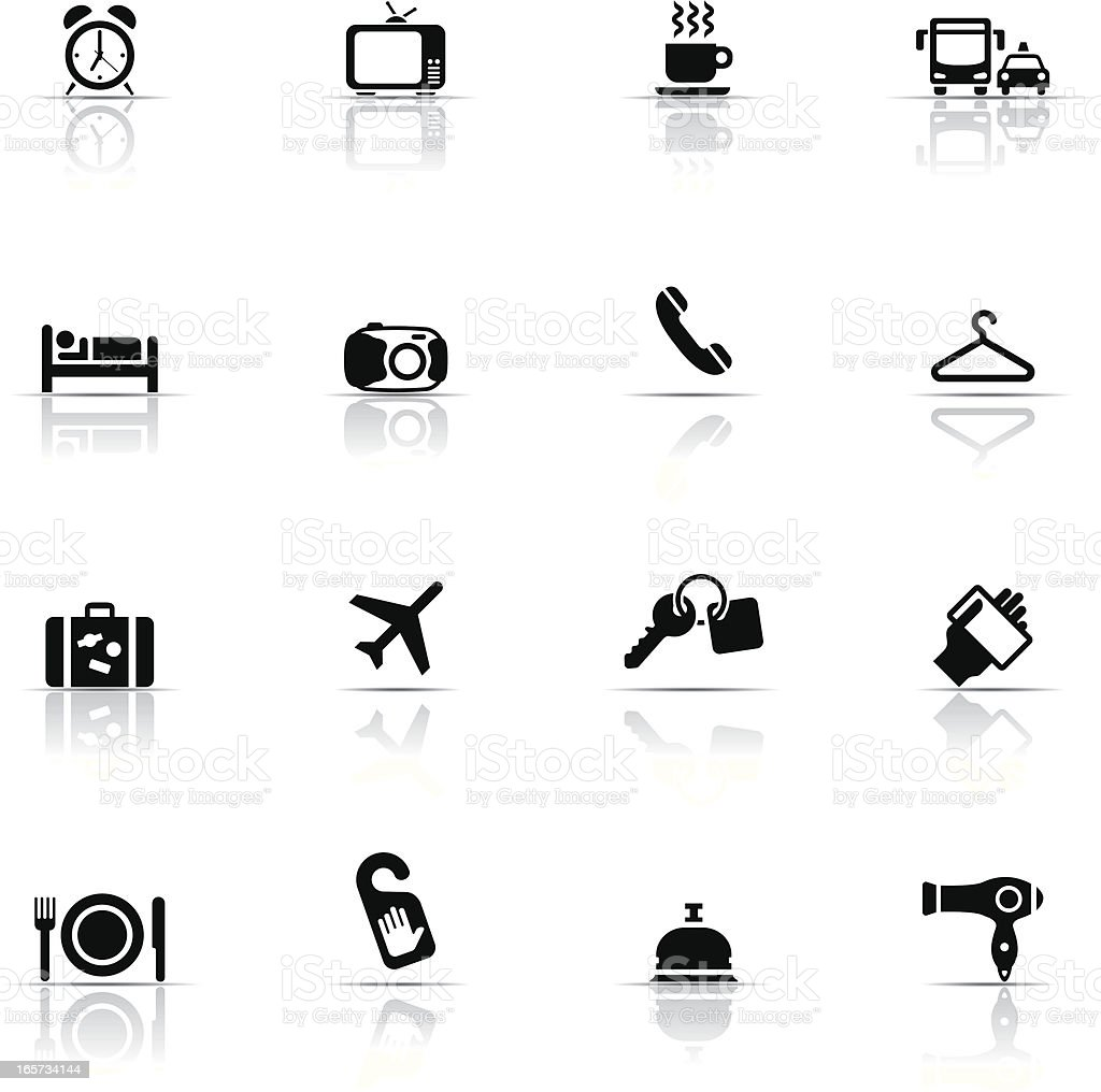 Hotel icon set in black and white royalty-free stock vector art