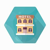 Hotel icon, Vector flat long shadow design. Transport concept.