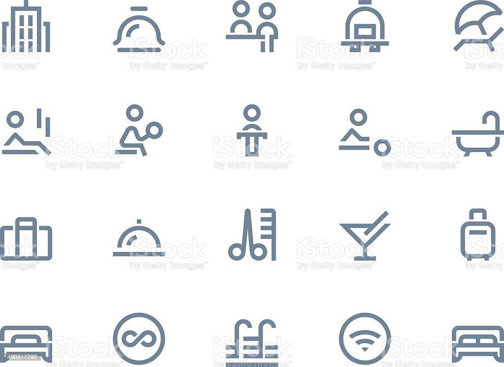 Hotel icons. Line series vector art illustration