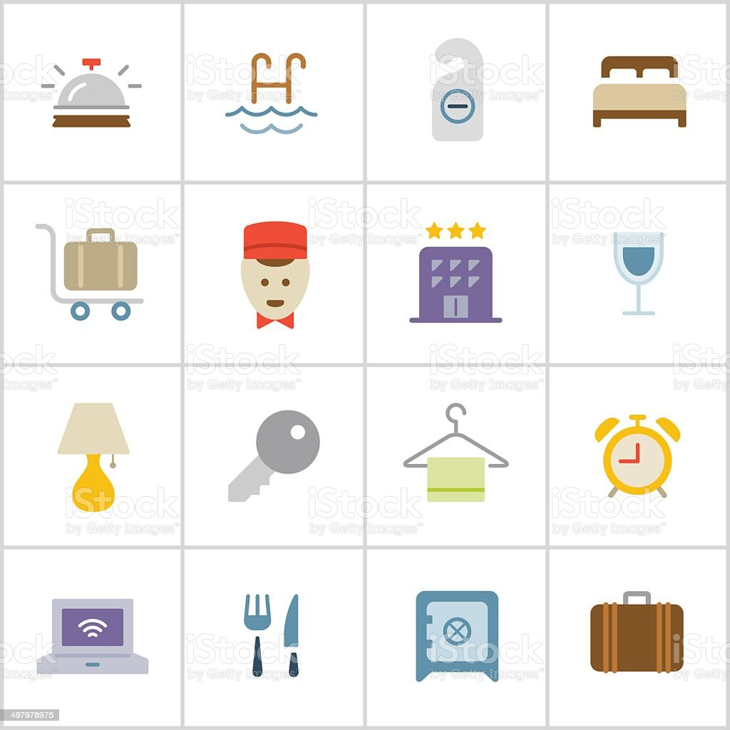 Hotel Icons — Poly Series vector art illustration