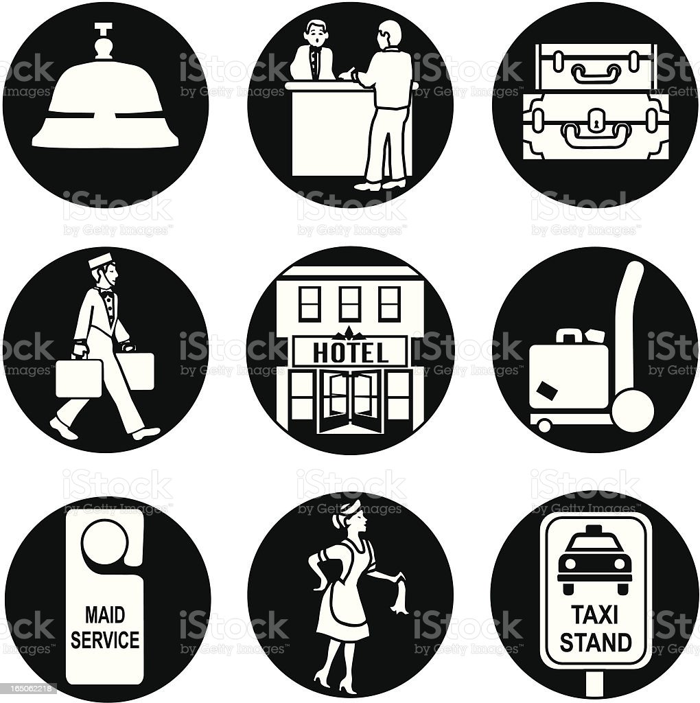 hotel icons reversed royalty-free stock vector art