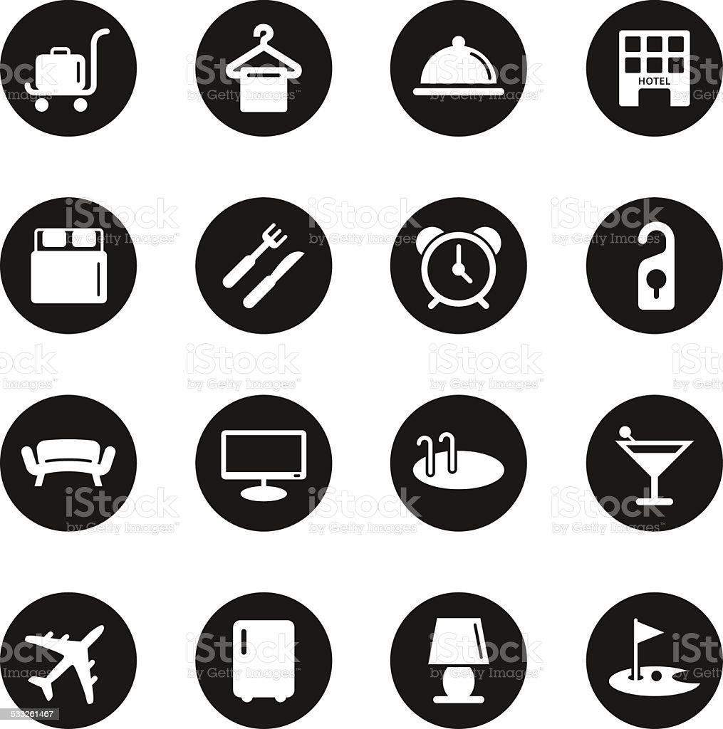 Hotel Icons Set 1 - Black Circle Series vector art illustration