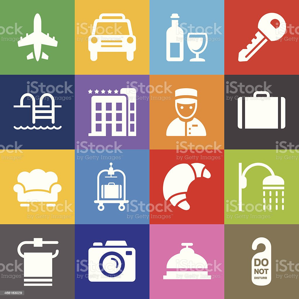 Hotel Icons Set 2 and Color Background vector art illustration
