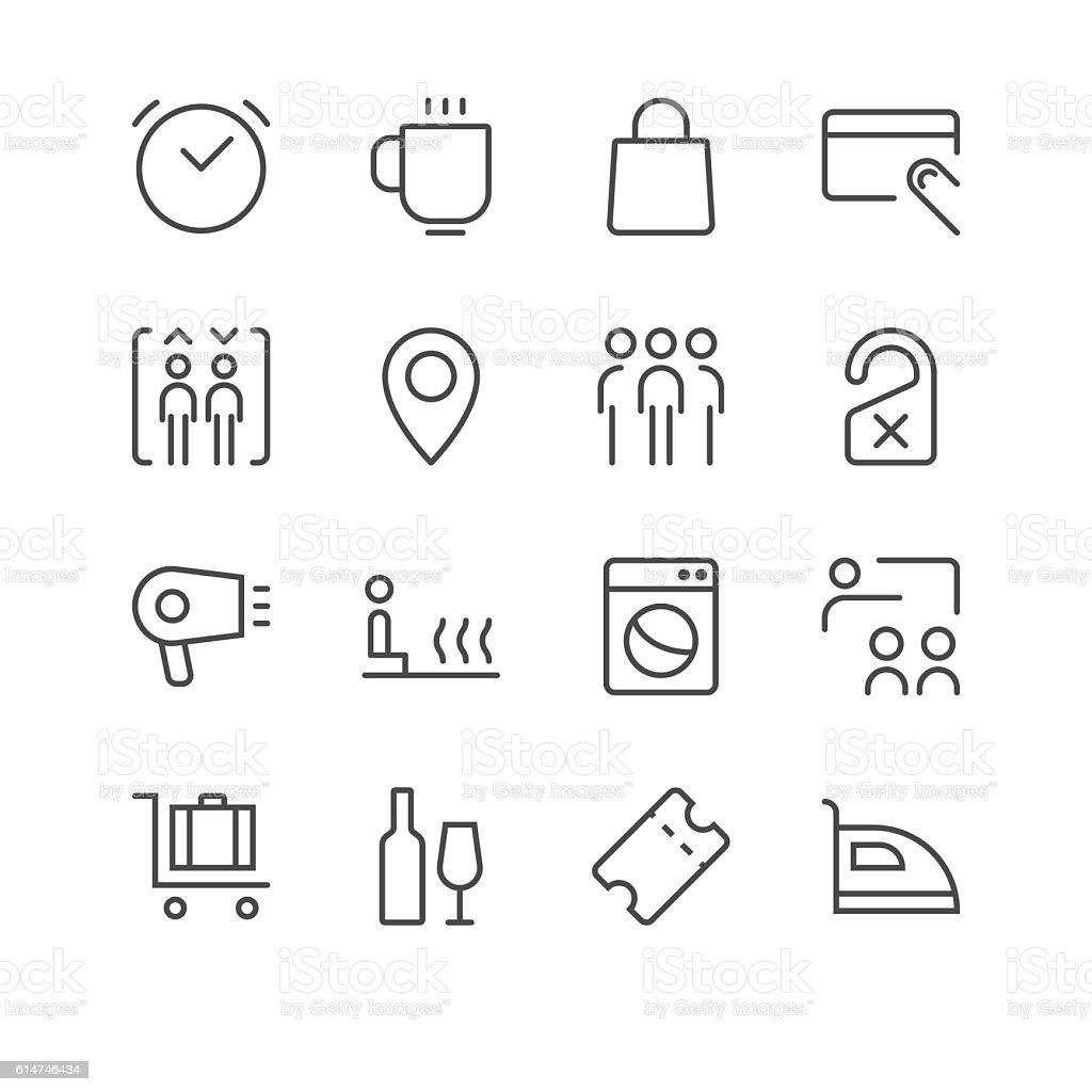 Hotel Icons set 2 | Black Line series vector art illustration