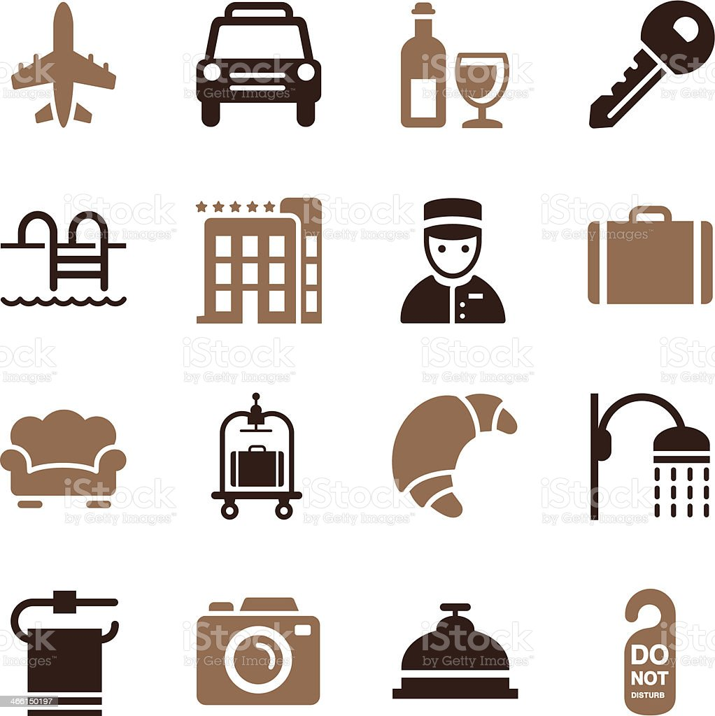 Hotel Icons Set 2   Color Series vector art illustration