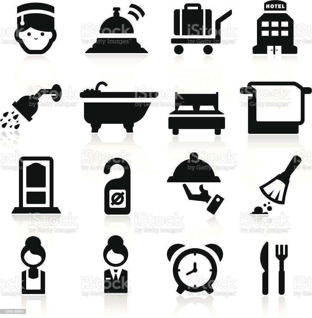 Hotel icons set - Elegant series vector art illustration