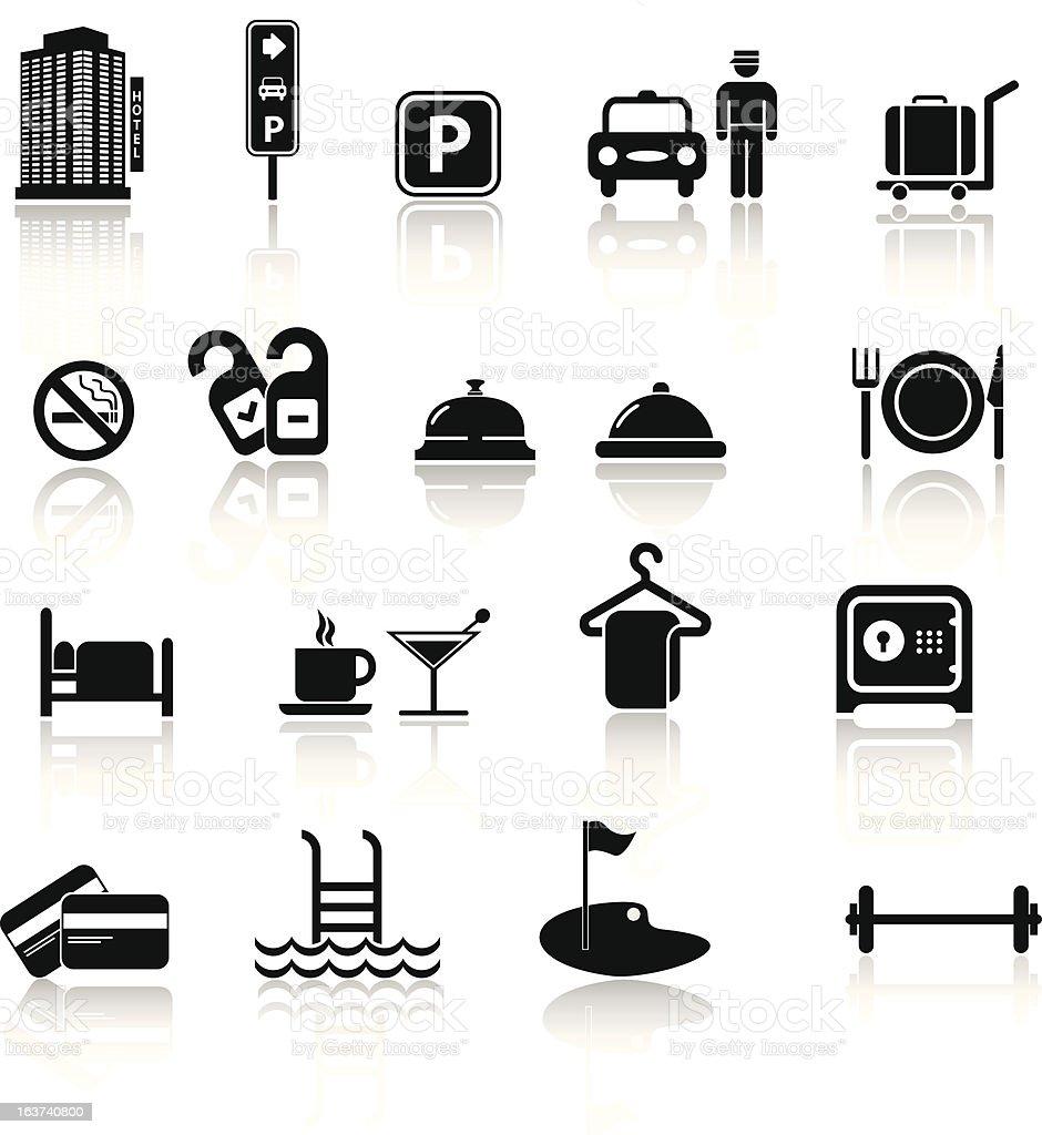Hotel icons set in black vector art illustration