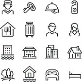 Hotel Icons Set - Line Series