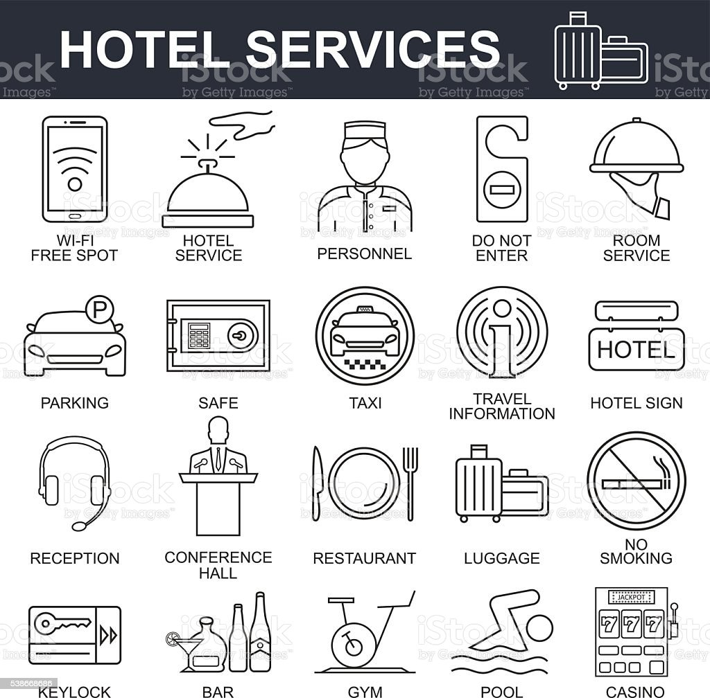 Hotel icons set. vector art illustration