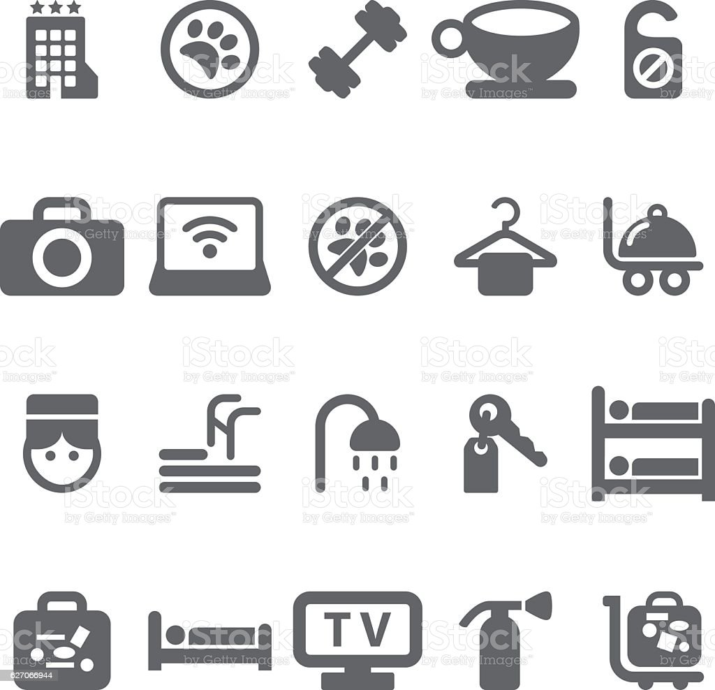 Hotel Icons Set vector art illustration