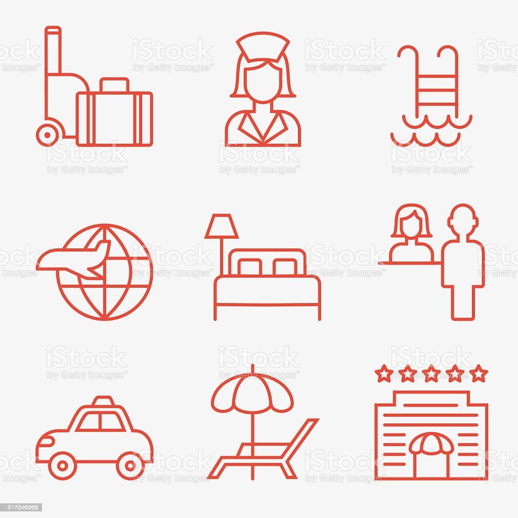 Hotel icons vector art illustration
