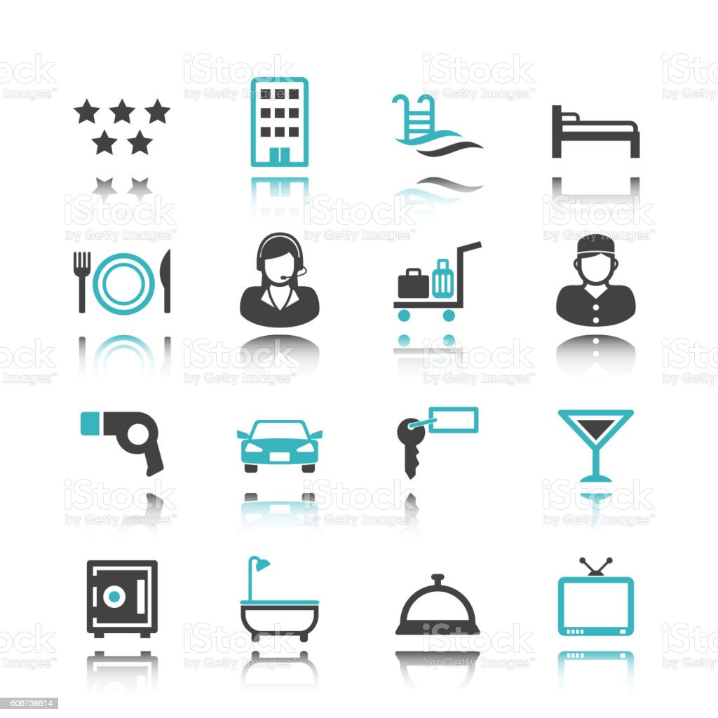 hotel icons with reflection vector art illustration