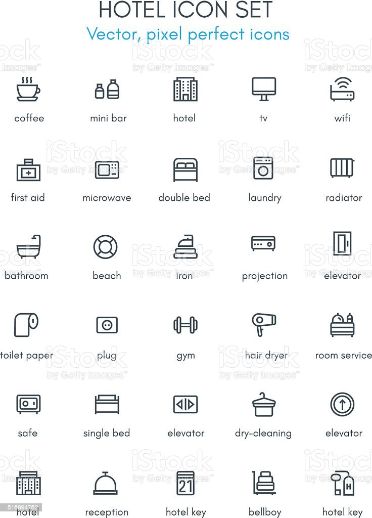 Hotel line icon set. vector art illustration
