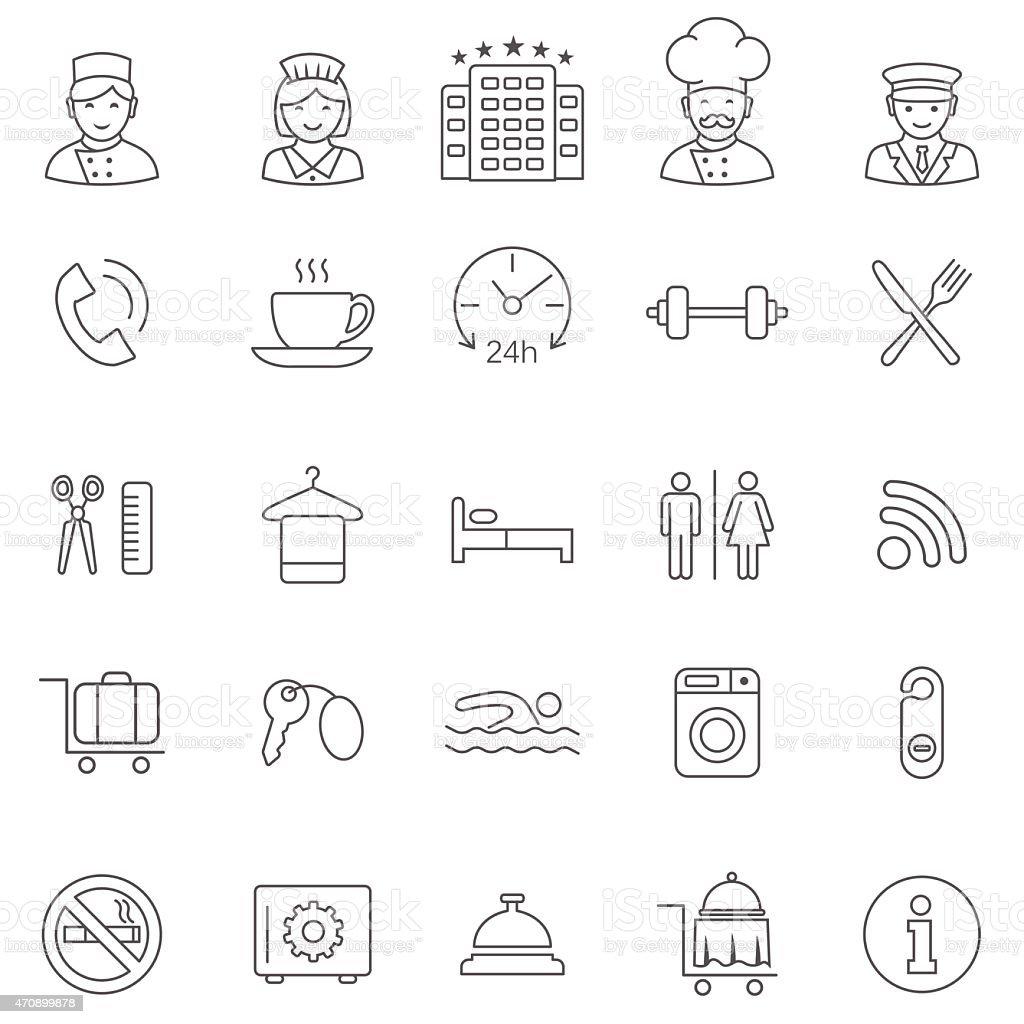 Hotel line icons set.Vector vector art illustration