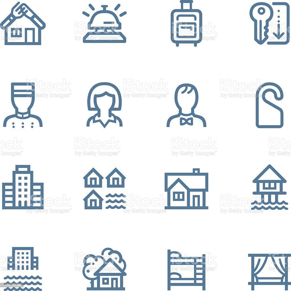 Hotel Line icons vector art illustration