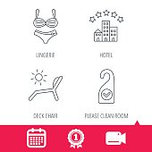 Hotel, lingerie and beach deck chair icons.