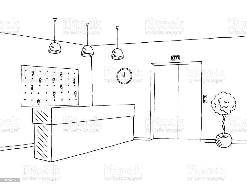 Hotel lobby reception black white graphic interior sketch illustration vector vector art illustration