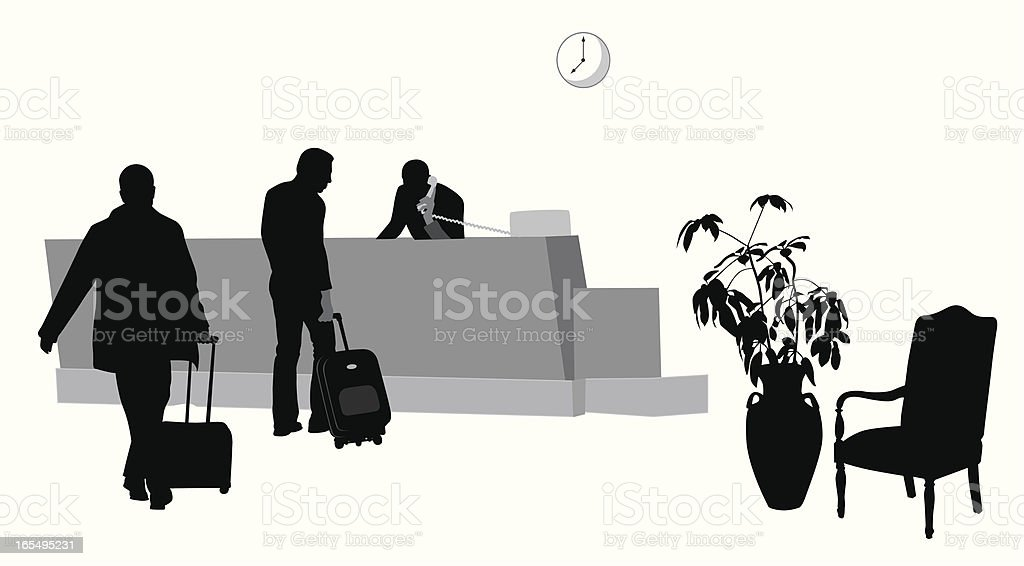 Hotel Lobby Vector Silhouette vector art illustration