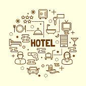 hotel minimal thin line icons set