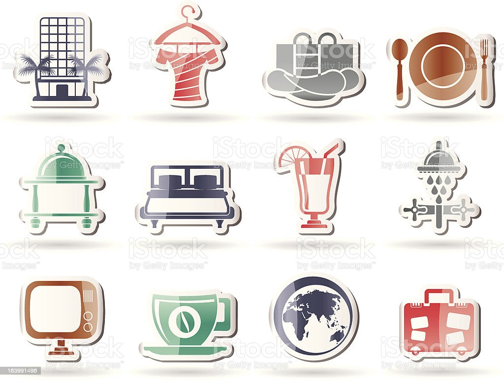 Hotel, motel and holidays icons royalty-free stock vector art