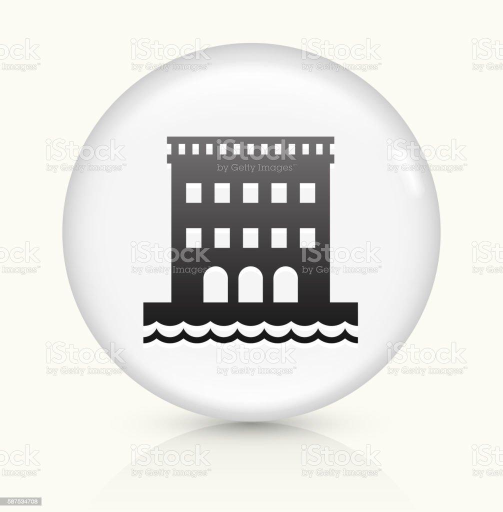 Hotel On Beach icon on white round vector button vector art illustration