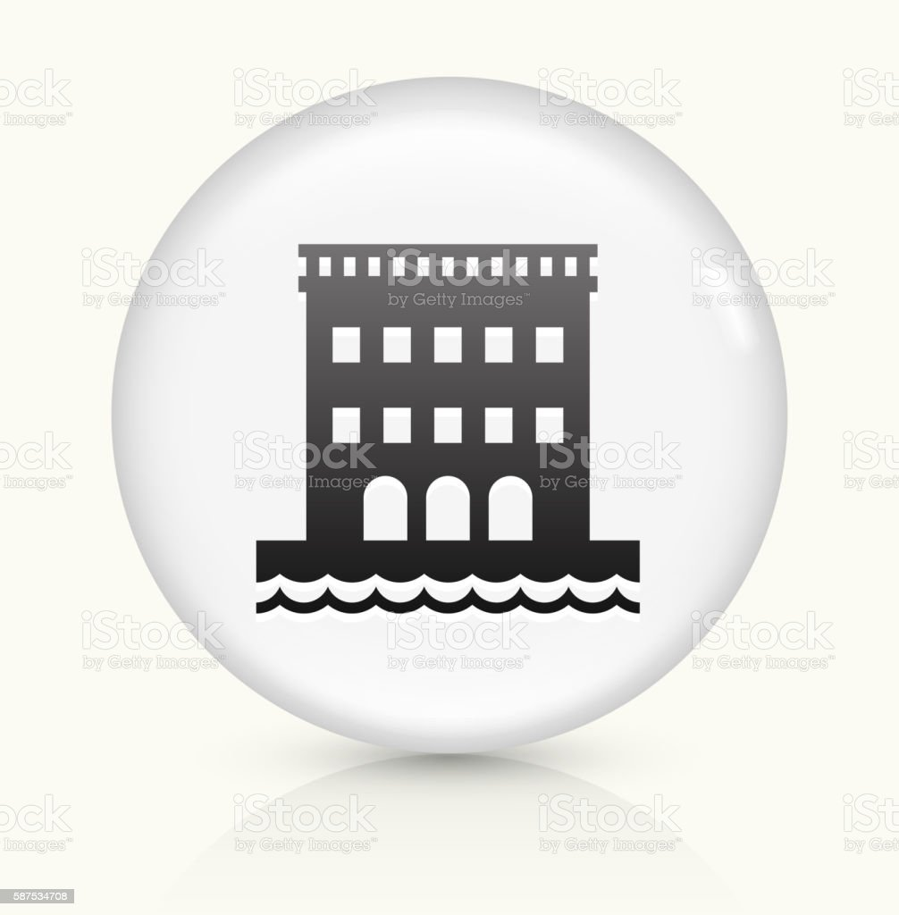 Hotel On Beach icon on white round vector button vector art illustration