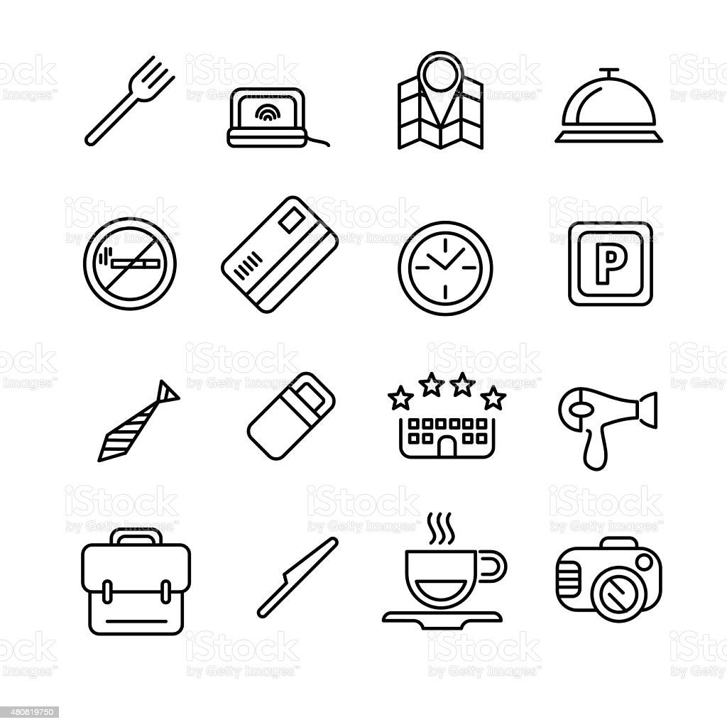 Hotel or apartments and travel icon vector art illustration