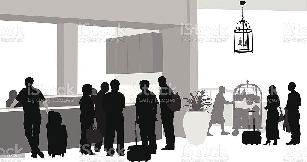 Hotel Patrons vector art illustration