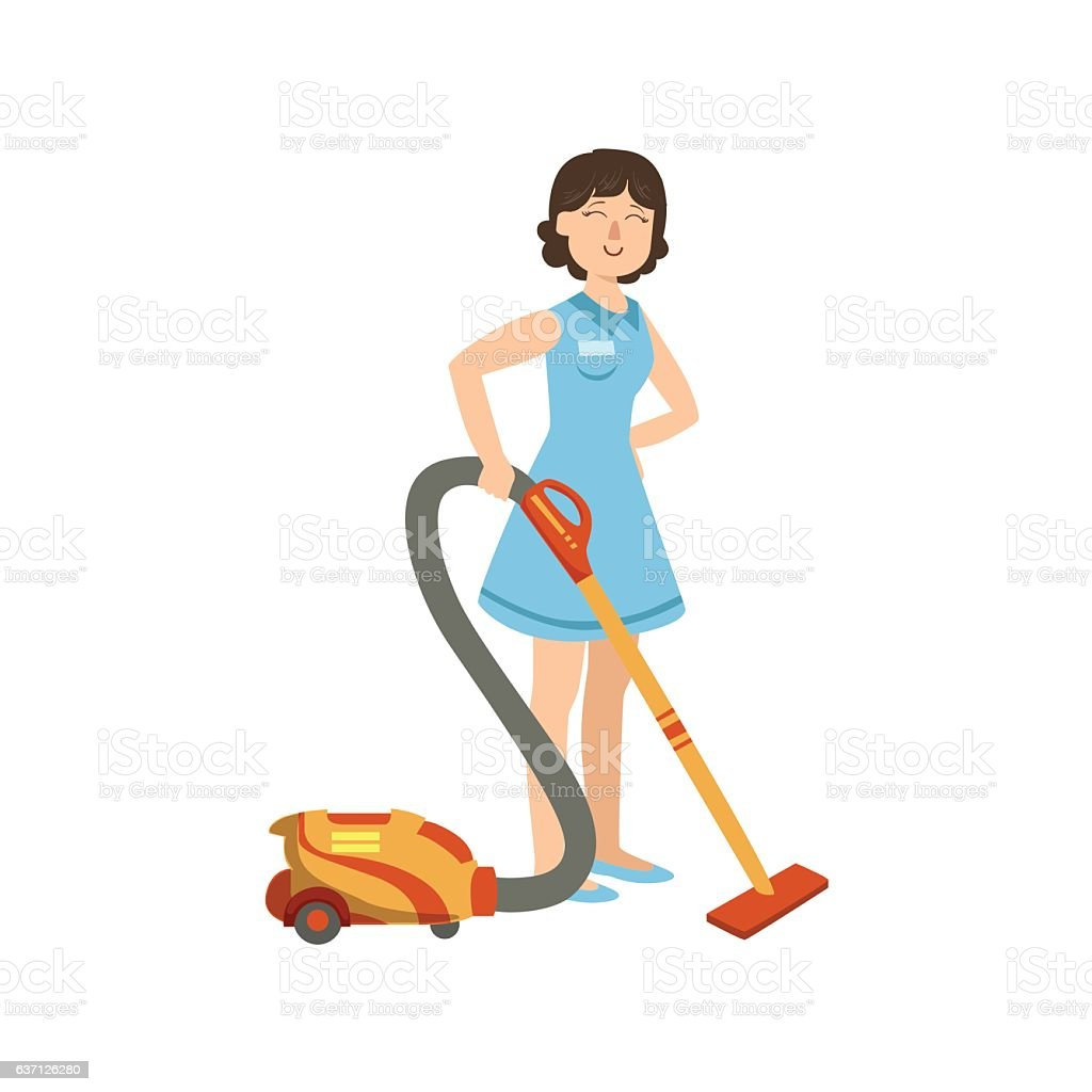 Hotel Professional Maid Cleaning The Floor With Hoover Illustration vector art illustration