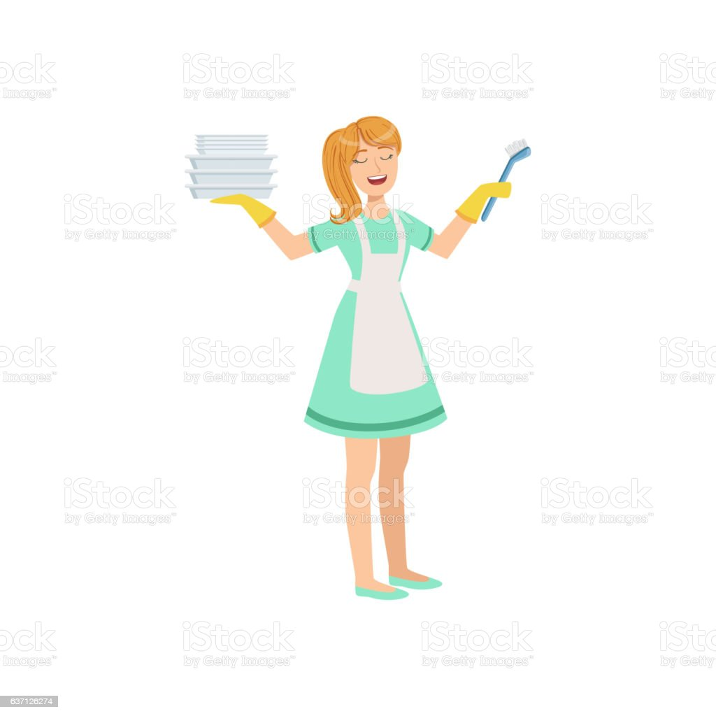 Hotel Professional Maid Washing Dishes Illustration vector art illustration