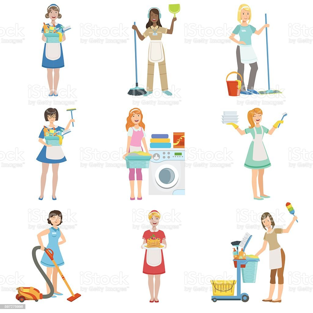 Hotel Professional Maids With Cleaning Equipment Set Of Illustrations vector art illustration