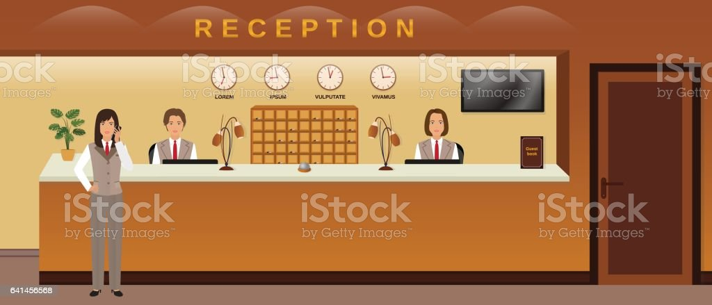 Hotel reception service. Three hotel employees welcome guests. Business office receptionists. vector art illustration