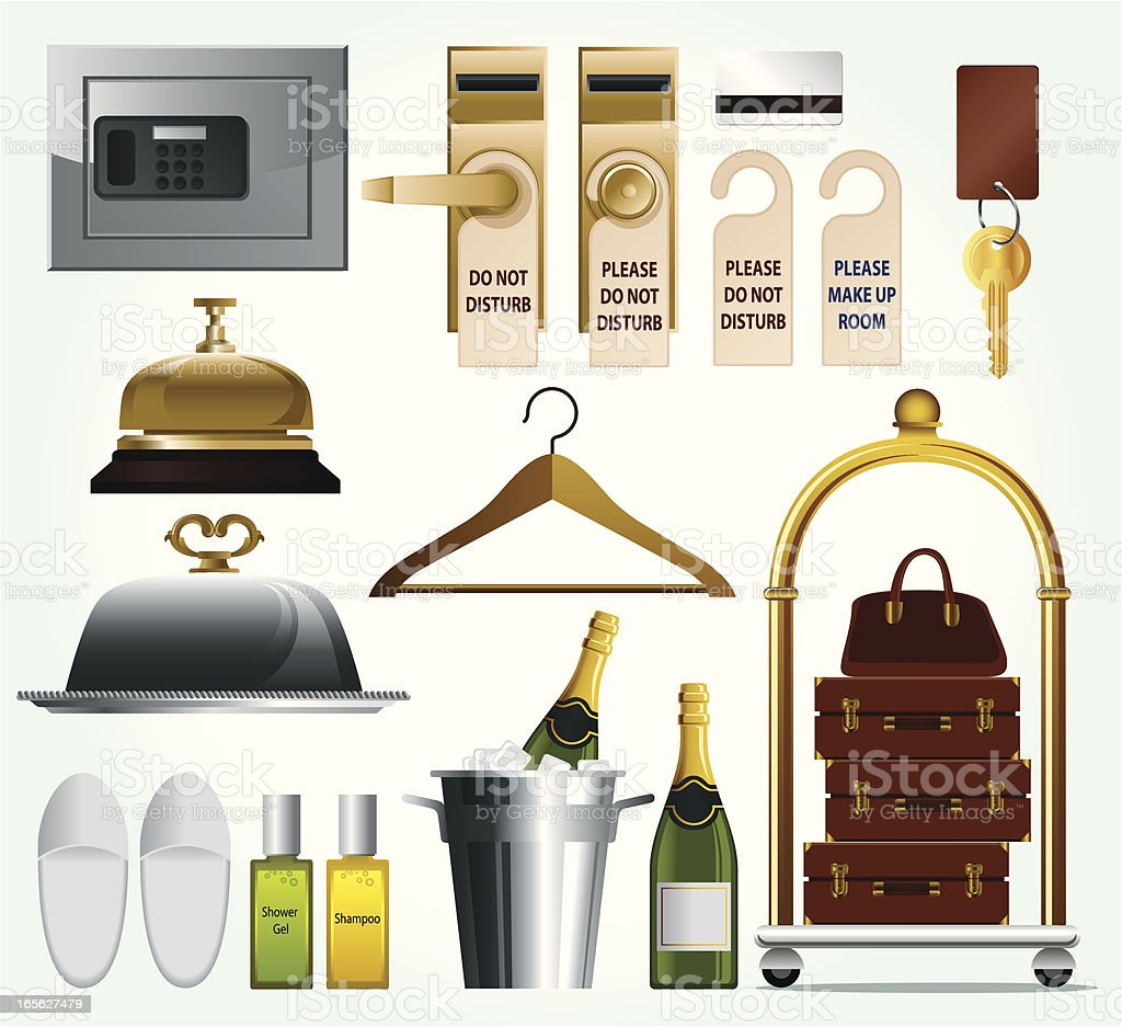Hotel Related Icon Set vector art illustration