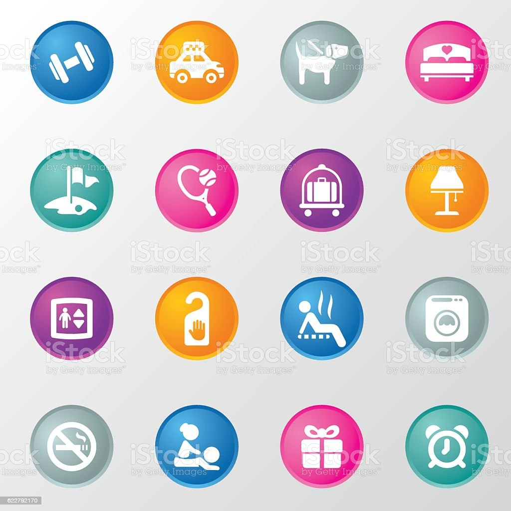 Hotel Resort and Spa Circle Color Icons vector art illustration