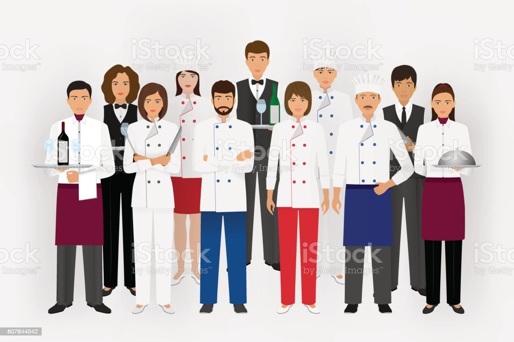 Hotel restaurant team concept in uniform. Group of catering characters standing together chef, cook, waiters and barman. vector art illustration